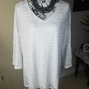 Cato, white crocheted tunic top, size 14/16W